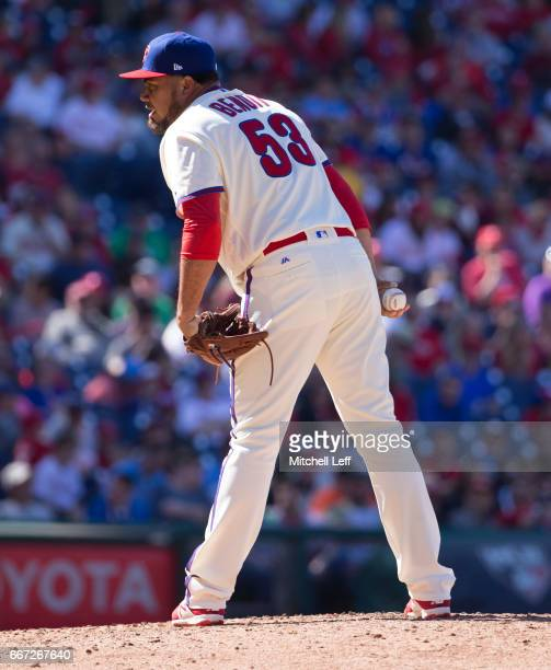 Joaquin Benoit of the Philadelphia Phillies pitches against the Washington Nationals at Citizens Bank Park on April 9 2017 in Philadelphia...