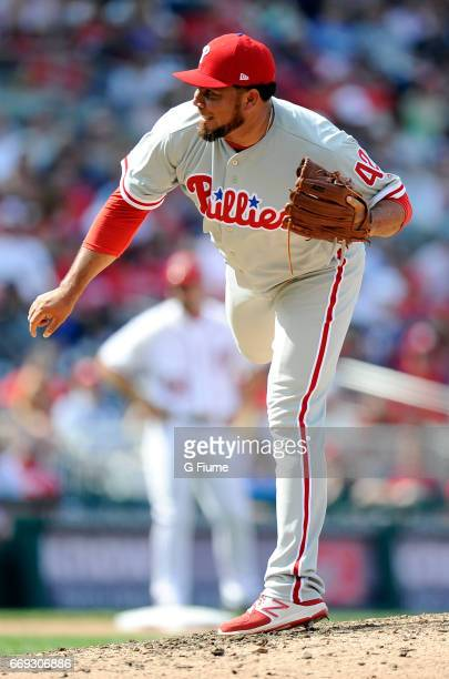 Joaquin Benoit of the Philadelphia Phillies pitches in the ninth inning against the Washington Nationals at Nationals Park on April 15 2017 in...