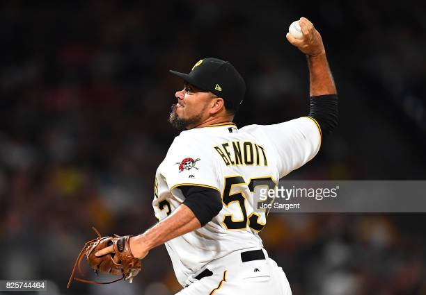 Joaquin Benoit of the Pittsburgh Pirates pitches during the seventh inning against the Cincinnati Reds at PNC Park on August 2 2017 in Pittsburgh...