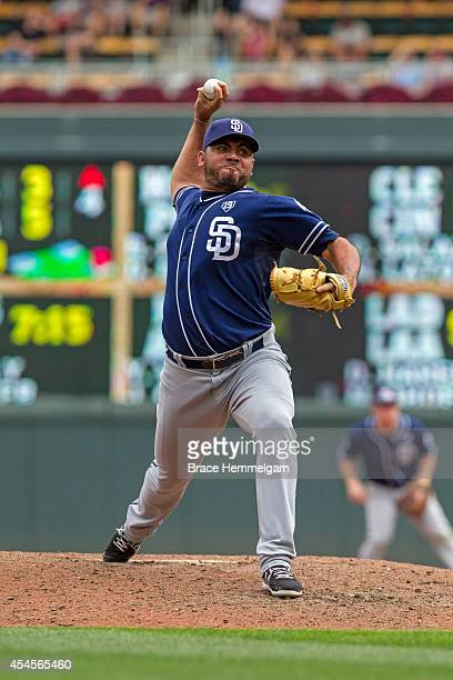 Joaquin Benoit of the San Diego Padres pitches against the Minnesota Twins on August 6 2014 at Target Field in Minneapolis Minnesota The Padres...