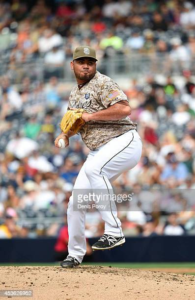 Joaquin Benoit of the San Diego Padres pitches during a baseball game against the Atlanta Braves at Petco Park on August 3 2014 in San Diego...