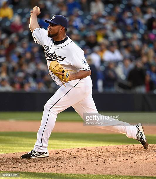 Joaquin Benoit of the San Diego Padres pitches during a baseball game against the Los Angeles Dodgers on Opening Day at Petco Park April 1 2014 in...