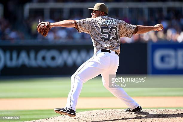 Joaquin Benoit of the San Diego Padres pitches in the game against the San Francisco Giants at Petco Park on April 12 2015 in San Diego California
