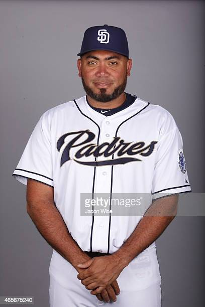 Joaquin Benoit of the San Diego Padres poses during Photo Day on Monday March 2 2015 at Peoria Stadium in Peoria Arizona