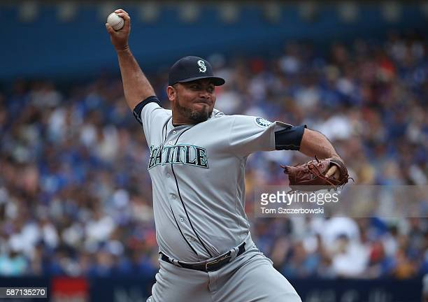Joaquin Benoit of the Seattle Mariners delivers a pitch in the eighth inning during MLB game action against the Toronto Blue Jays on July 24 2016 at...