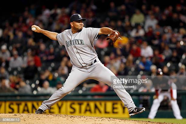 Joaquin Benoit of the Seattle Mariners pitches against the Cleveland Indians in the eighth inning at Progressive Field on April 20 2016 in Cleveland...