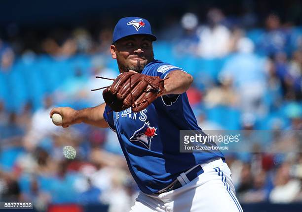 Joaquin Benoit of the Toronto Blue Jays delivers a pitch in the ninth inning during MLB game action against the San Diego Padres on July 27 2016 at...