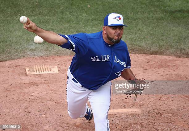 Joaquin Benoit of the Toronto Blue Jays delivers a pitch in the seventh inning during MLB game action against the Houston Astros on August 14 2016 at...