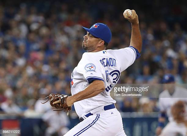 Joaquin Benoit of the Toronto Blue Jays delivers a pitch in the eighth inning during MLB game action against the Los Angeles Angels of Anaheim on...