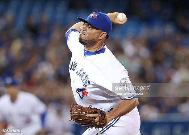 Joaquin Benoit of the Toronto Blue Jays delivers a pitch in the seventh inning during MLB game action against the Tampa Bay Rays on September 12 2016...