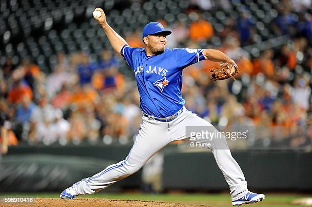 Joaquin Benoit of the Toronto Blue Jays pitches in the ninth inning against the Baltimore Orioles at Oriole Park at Camden Yards on August 29 2016 in...