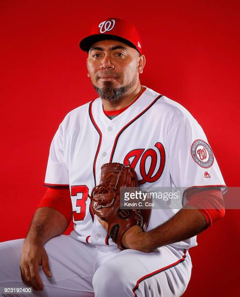 Joaquin Benoit of the Washington Nationals poses for a photo during photo days at The Ballpark of the Palm Beaches on February 22 2018 in West Palm...