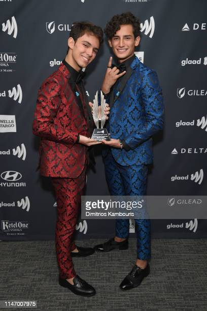 Joaquin Bondoni and Emilio O Marcos pose backstage during the 30th Annual GLAAD Media Awards New York at New York Hilton Midtown on May 04 2019 in...