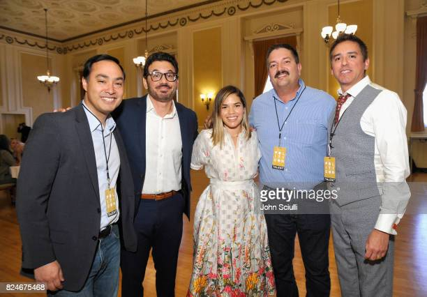 Joaquin Castro Al Madrigal America Ferrera Randy Bryce and Cristobal Alex at Politicon at Pasadena Convention Center on July 30 2017 in Pasadena...