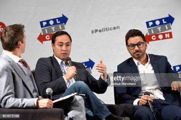 Joaquin Castro and Al Madrigal at the 'The Power Vote Latinos' Crucial Role in the 2018 and 2020 Elections' panel during Politicon at Pasadena...