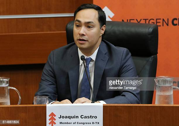 Joaquin Castro is seen attending the 'Climate Change and Economic Opportunity' panel discussion at Florida International University on March 10 2016...