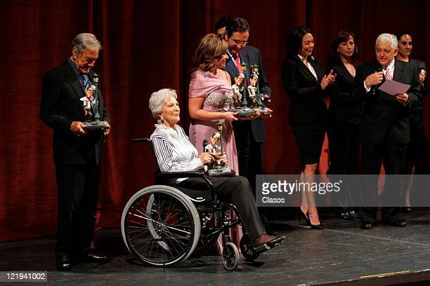 Joaquin Cordero Irene G de Lanz Maria Sorte during Presentation of the book Mario Moreno Cantinflas years 100 in the palace of fine arts in Mexico...