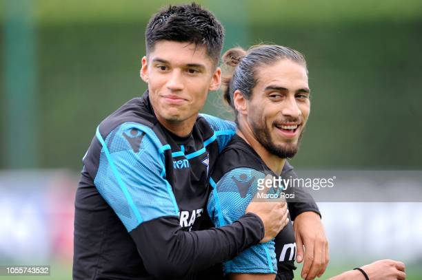 Joaquin Correa and Martin Caceres of SS Lazio in action training session on October 31 2018 in Rome Italy