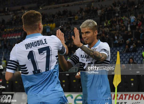 Joaquin Correa celebrates after scoring goal 10 during the Italian Serie A football match between SS Lazio and Bologna at the Olympic Stadium in Rome...