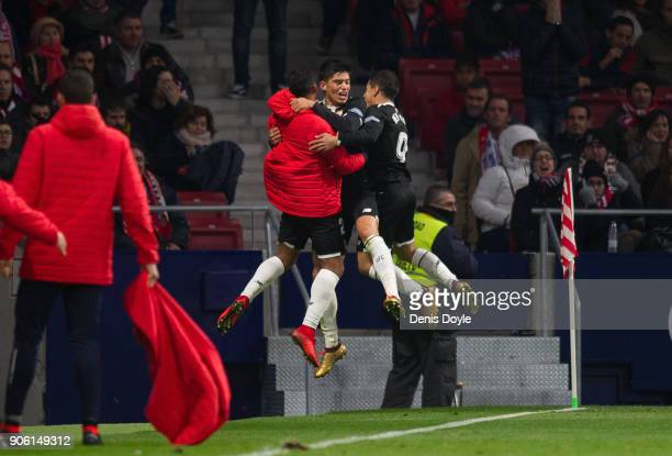 Joaquin Correa celebrates with teammates after scoring his teamÕs 2nd goal during the Copa del Rey Quarter Final First Leg match between Atletico de...