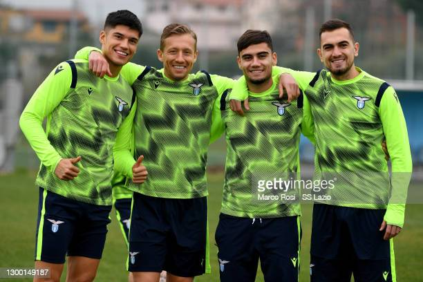 Joaquin Correa, Lucas Leiva, Andreas Pereira and Gonzalo Escalante of SS Lazio pose during the SS Lazio training session at the Formello sport center...