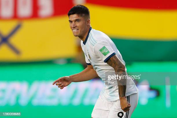 Joaquin Correa of Argentina celebrates after scoring the second goal of his team during a match between Bolivia and Argentina as part of South...