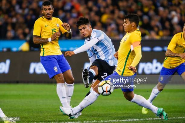 Joaquin Correa of Argentina during a friendly football international between Argentina and Brazil at the Melbourne Cricket Ground in Melbourne...