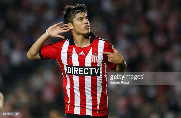 Joaquin Correa of Estudiantes celebrates after scoring the first goal of his team during a match between Estudiantes and Peñarol as part of round of...