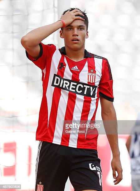 Joaquin Correa of Estudiantes laments after missing a chance to score during a match between Estudiantes and Quilmes as part of 13th round of Torneo...