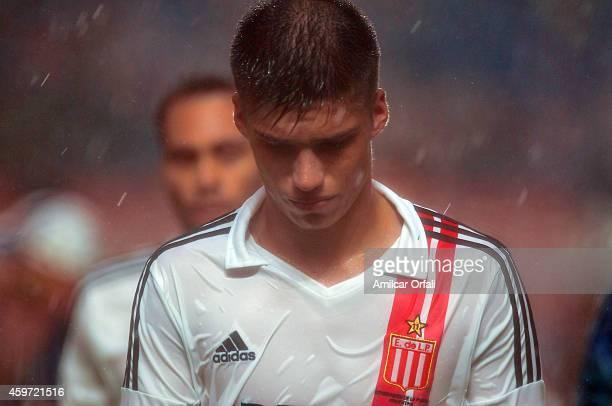 Joaquin Correa of Estudiantes looks dejected after a match between San Lorenzo and Estudiantes as part of round 18 of Torneo de Transicion 2014 at...