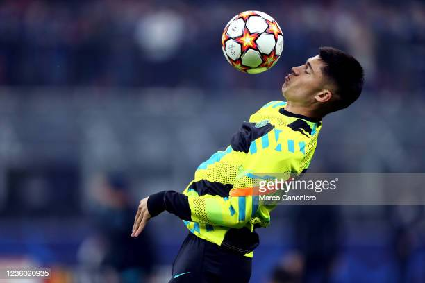Joaquin Correa of Fc Internazionale during warm up before the Uefa Champions League Group D match between FC Internazionale and FC Sheriff . Fc...