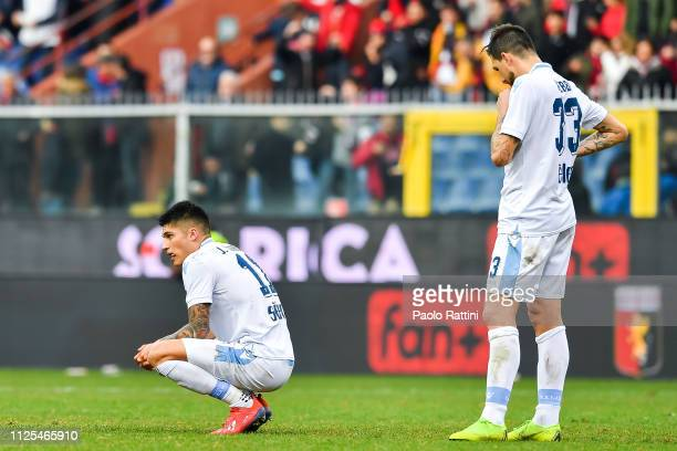 Joaquin Correa of Lazio and Francesco Acerbi of Lazio reacts with disappointment after the Serie A match between Genoa CFC and SS Lazio at Stadio...