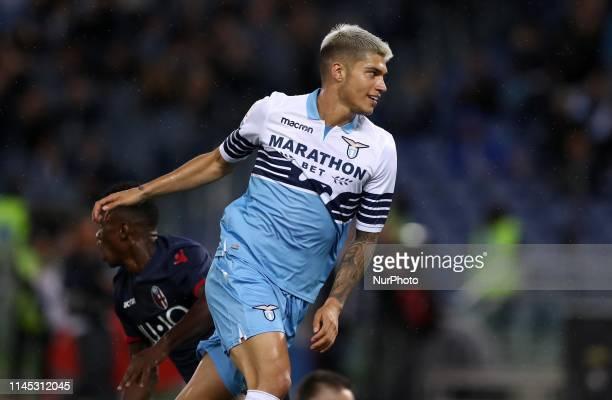 Joaquin Correa of Lazio celebrates after scoring the goal of 10 during the Italian Serie A football match Lazio v Bologna at the Olimpico Stadium in...
