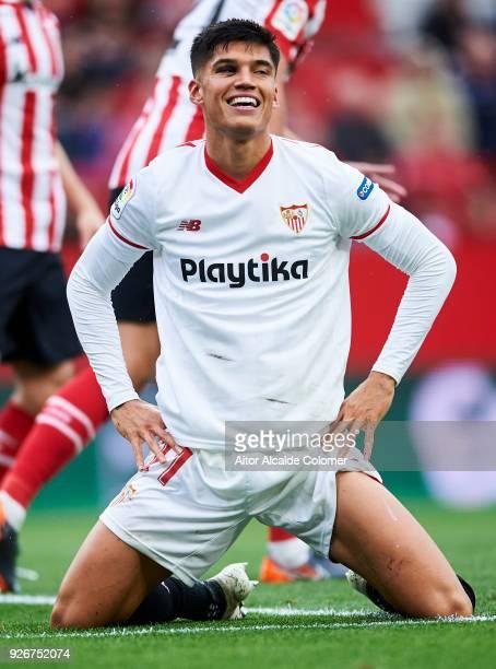 Joaquin Correa of Sevilla CF reacts during the La Liga match between Sevilla CF and Athletic Club at Estadio Ramon Sanchez Pizjuan on March 3 2018 in...