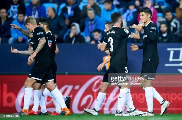 Joaquin Correa of Sevilla FC celebrates after scoring a goal during the La Liga match between Malaga CF and Sevilla FC at Estadio La Rosaleda on...