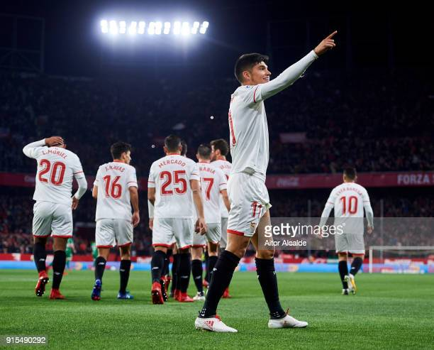 Joaquin Correa of Sevilla FC celebrates after scoring goal during the Copa del Rey semifinal second leg match between Sevilla FC and CD Leganes at...