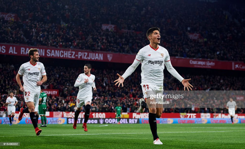 Joaquin Correa Of Sevilla Fc Celebrates After Scoring Goal During The Copa Del Rey Semi