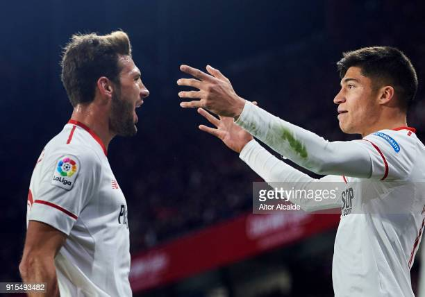 Joaquin Correa of Sevilla FC celebrates with his teammate Franco Vazquez of Sevilla FC after scoring the opening goal during the Copa del Rey...