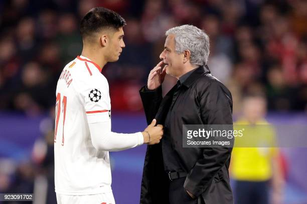 Joaquin Correa of Sevilla FC coach Jose Mourinho of Manchester United during the UEFA Champions League match between Sevilla v Manchester United at...