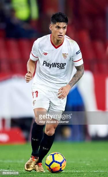 Joaquin Correa of Sevilla FC controls the ball during the La Liga match between Sevilla FC and Levante UD at Estadio Ramon Sanchez Pizjuan on...
