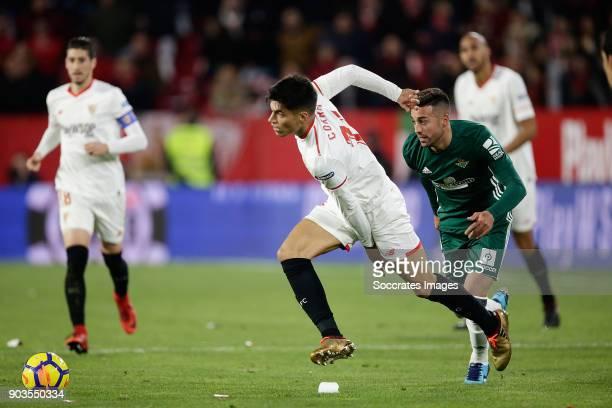 Joaquin Correa of Sevilla FC during the La Liga Santander match between Sevilla v Real Betis Sevilla at the Estadio Ramon Sanchez Pizjuan on January...
