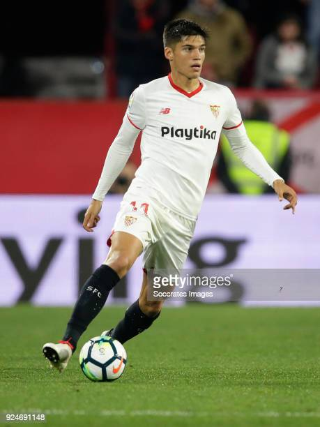 Joaquin Correa of Sevilla FC during the La Liga Santander match between Sevilla v Atletico Madrid at the Estadio Ramon Sanchez Pizjuan on February 25...