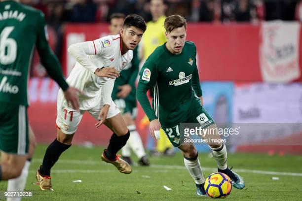 Joaquin Correa of Sevilla FC Francisco Javier Guerrero Martin of Real Betis during the La Liga Santander match between Sevilla v Real Betis Sevilla...