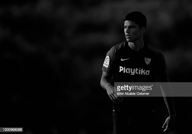 Joaquin Correa of Sevilla FC looks on during a friendly match between Sevilla FC and Real Mucia at Real Club de golf Campoamor on July 17 2018 in...