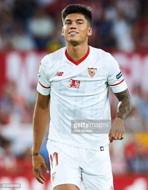 Joaquin Correa of Sevilla FC looks on during a Pre Season Friendly match between Sevilla FC and AS Roma at Estadio Ramon Sanchez Pizjuan on August 10...