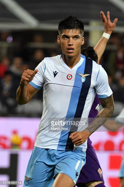 Joaquin Correa of SS Lazio celebrate a opening goal with his team mates during the Serie A match between ACF Fiorentina and SS Lazio at Stadio...