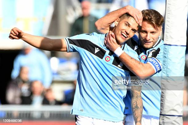 Joaquin Correa of SS Lazio celebrate a second goal with Ciro Immobile of SS Lazio during the Serie A match between SS Lazio and Bologna FC at Stadio...