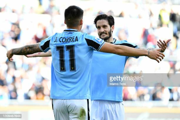 Joaquin Correa of SS Lazio celebrate a second goal with his team mates during the Serie A match between SS Lazio and Bologna FC at Stadio Olimpico on...