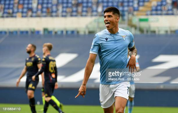 Joaquin Correa of SS Lazio celebrates a fourth goal during the Serie A match between SS Lazio and Genoa CFC at Stadio Olimpico on May 02, 2021 in...