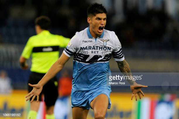 Joaquin Correa of SS Lazio celebrates a frist goal during the Serie A match between SS Lazio and AC Milan at Stadio Olimpico on November 25 2018 in...